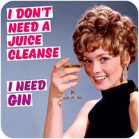 I Don't Need a Juice Cleanse - I Need Gin Funny Coaster