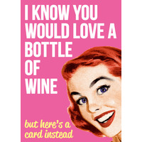 I Know You Would Love A Bottle Of Wine Funny Birthday Card