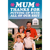 Mum Thanks For Putting Up With All Our Shit Fridge Magnet Rude