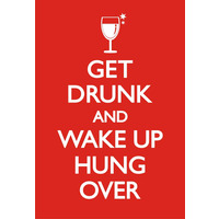 Get Drunk And Wake Up Hungover Funny Fridge Magnet